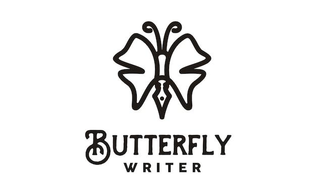 Design de logotipo de escritor de borboleta