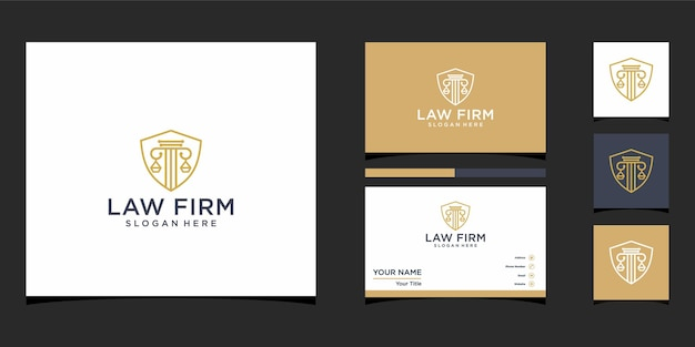 Design de logotipo de escritório de advocacia com pacote de identidade da marca