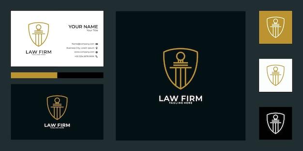 Design de logotipo de escritório de advocacia e cartão de visita. bom uso para finanças, logotipo comercial