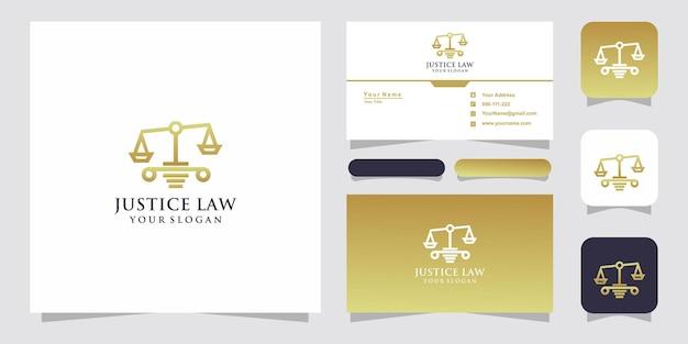 Design de logotipo de escritório de advocacia e modelo de cartão de visita