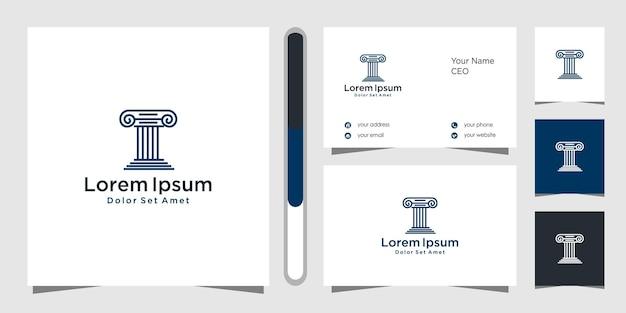 Design de logotipo de escritório de advocacia e modelo de cartão de visita.