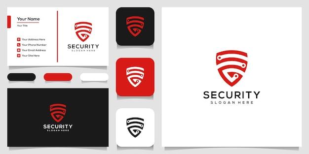Design de logotipo de escudo criativo e modelo de cartão de visita