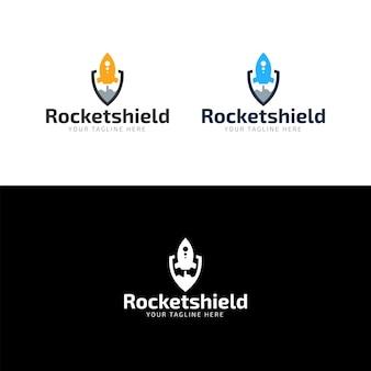Design de logotipo de escudo de foguete plana