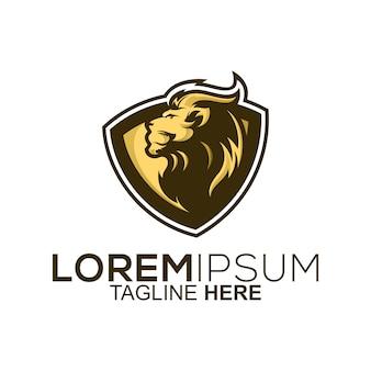Design de logotipo de escudo de leão dourado