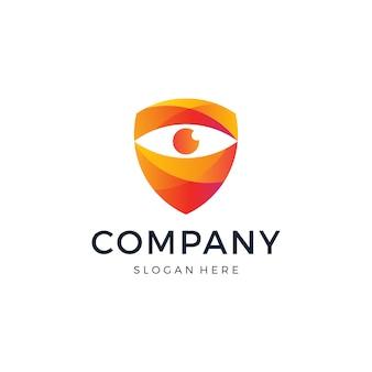 Design de logotipo de escudo de olho