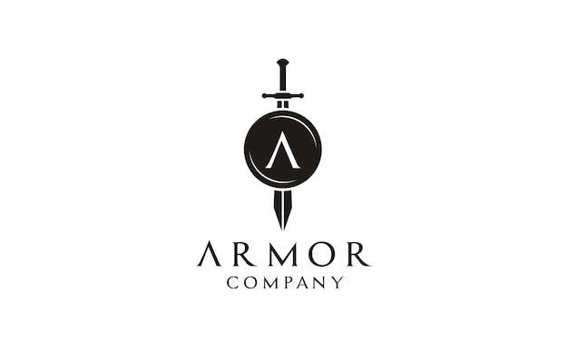 Design de logotipo de escudo e espada