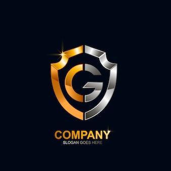 Design de logotipo de escudo letra g