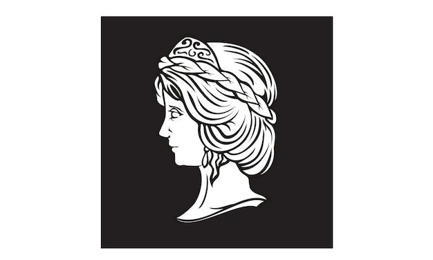 Design de logotipo de escultura de deusa grega