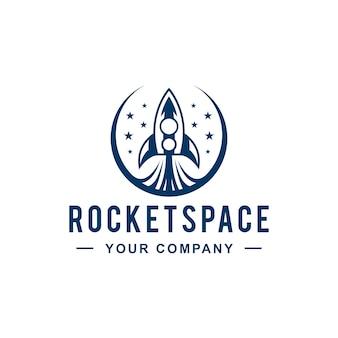 Design de logotipo de espaço de lançamento de foguete