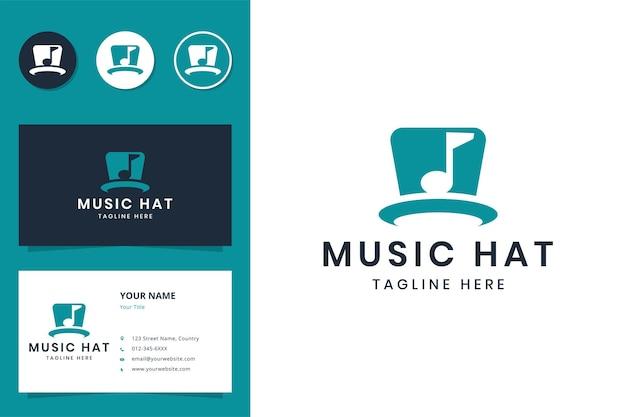 Design de logotipo de espaço negativo de chapéu musical