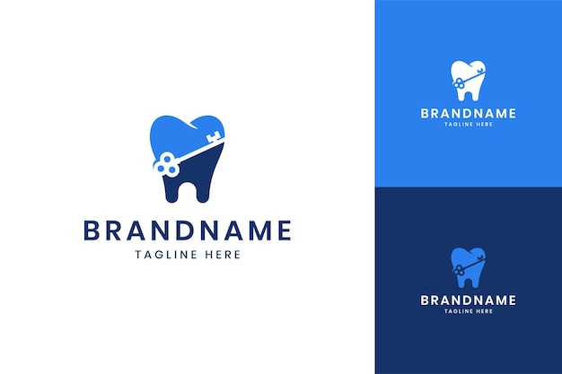 Design de logotipo de espaço negativo de fechadura dentária