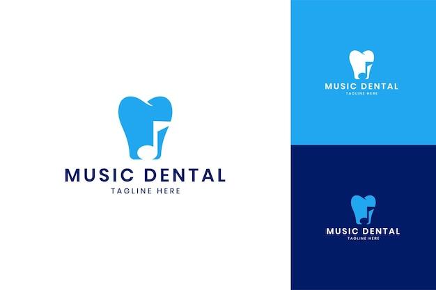Design de logotipo de espaço negativo de música odontológica