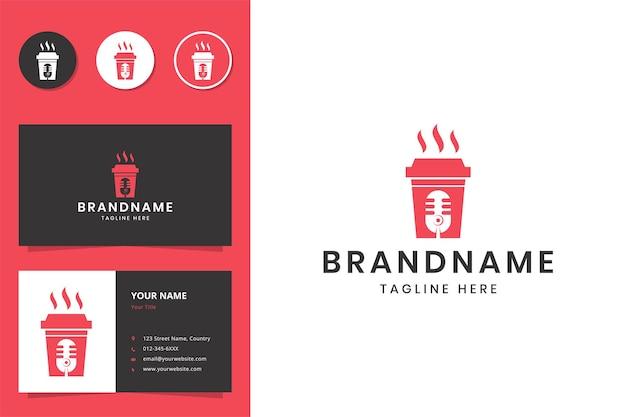 Design de logotipo de espaço negativo de podcast de café