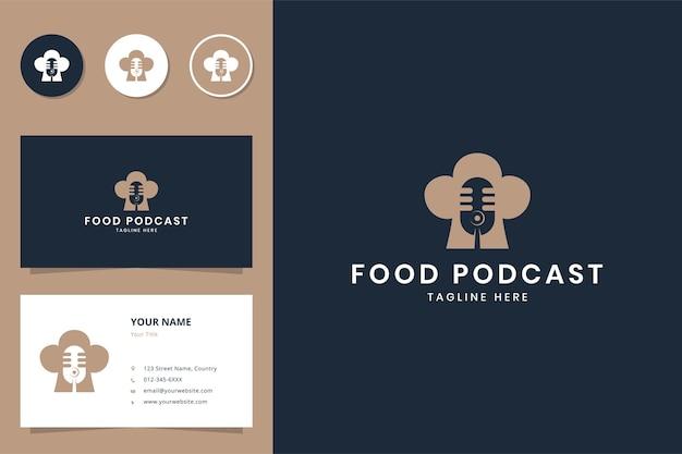 Design de logotipo de espaço negativo de podcast de comida