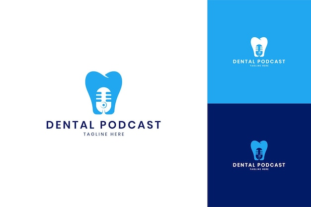 Design de logotipo de espaço negativo de podcast odontológico