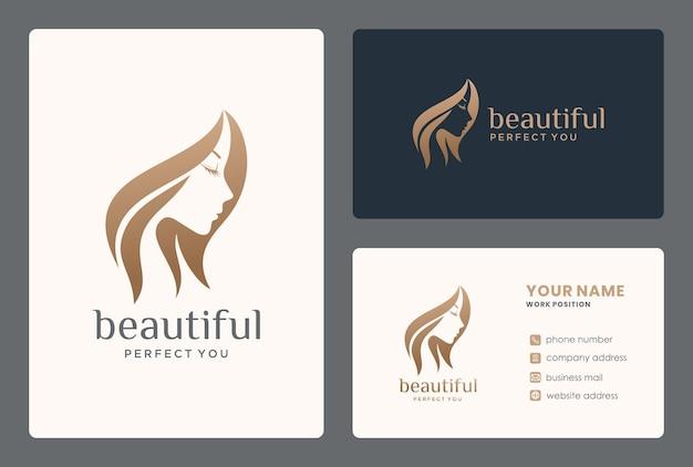 Design de logotipo de espaço negativo de rosto feminino