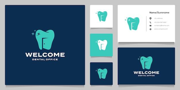 Design de logotipo de espaço negativo odontológico e de porta