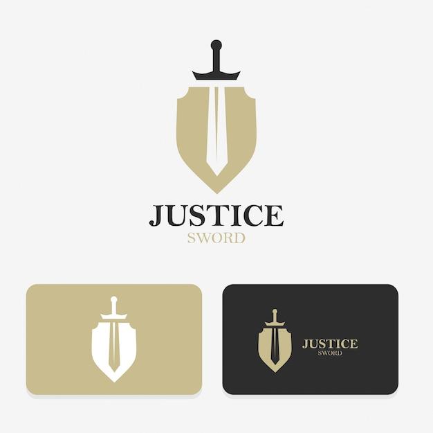 Design de logotipo de espada e escudo