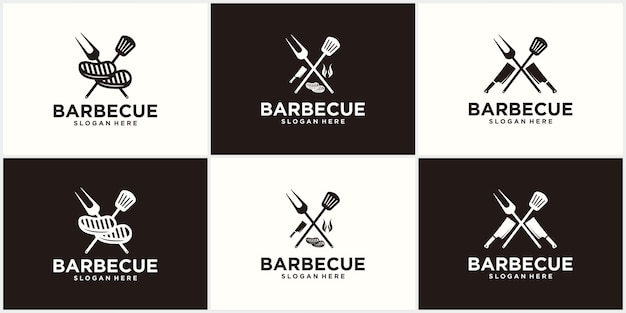 Design de logotipo de espátula de churrasco grelha alimento fogo e modelo de conceito de espátula ilustração vetorial