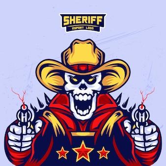 Design de logotipo de esport de crânio do xerife
