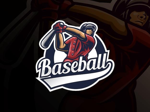 Design de logotipo de esporte beisebol. distintivo de vetor de beisebol profissional moderno. modelo de vetor de design de logotipo de jogador de beisebol