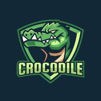 Design de logotipo de esporte de crocodilo verde