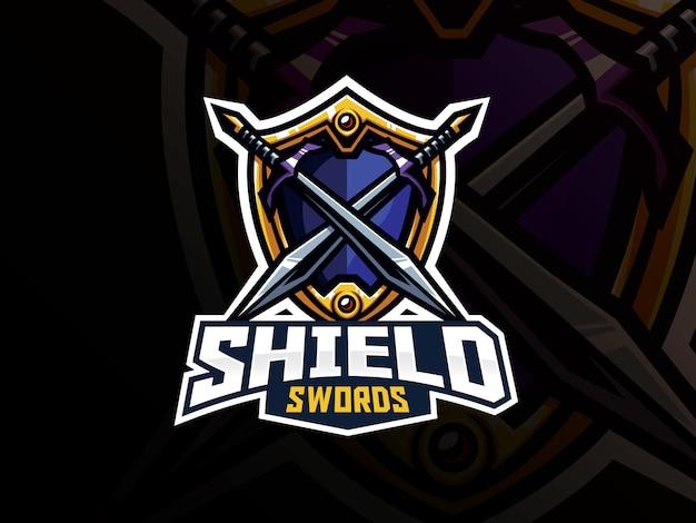 Design de logotipo de esporte de distintivo de escudo e espadas