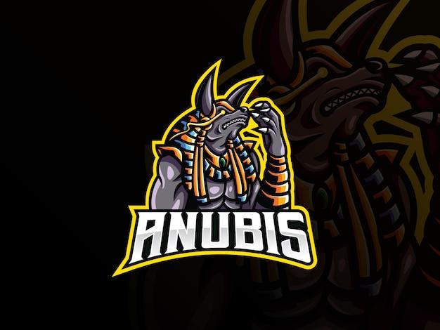 Design de logotipo de esporte de mascote de anubis