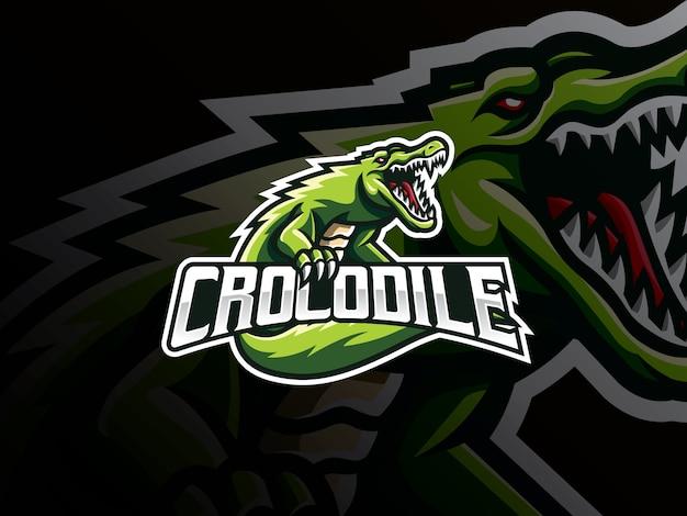 Design de logotipo de esporte de mascote de crocodilo
