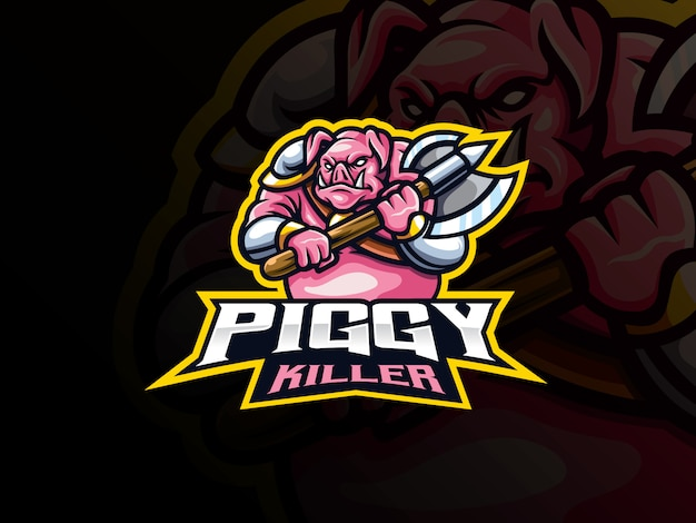 Design de logotipo de esporte de mascote de guerreiro porco