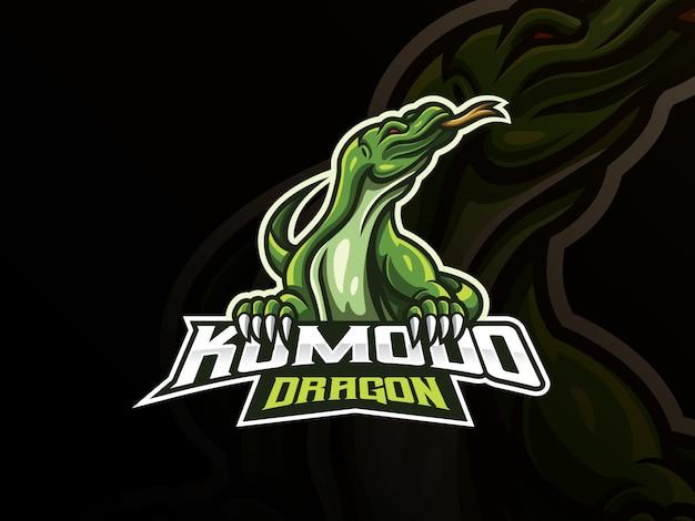 Design de logotipo de esporte de mascote de komodo