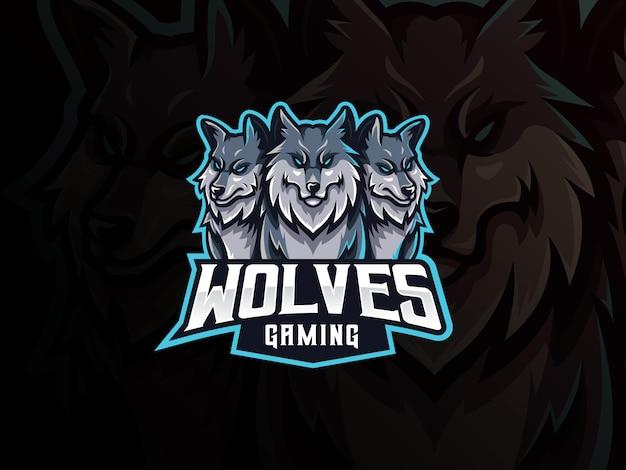 Design de logotipo de esporte de mascote de lobos