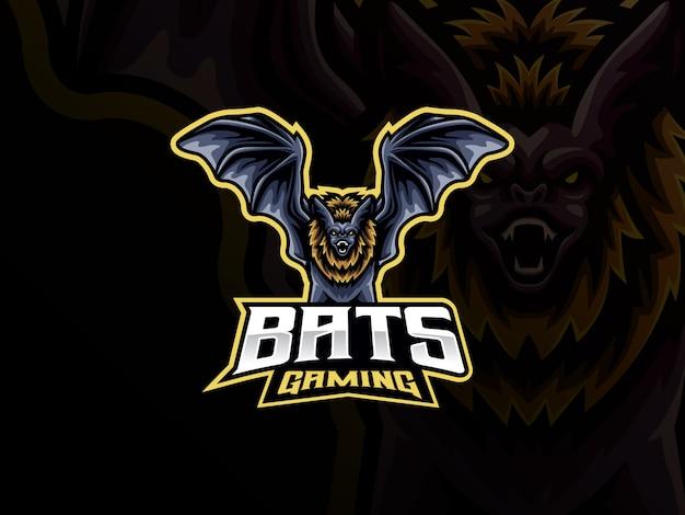 Design de logotipo de esporte de mascote de morcego