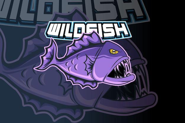 Design de logotipo de esporte de mascote de peixe selvagem
