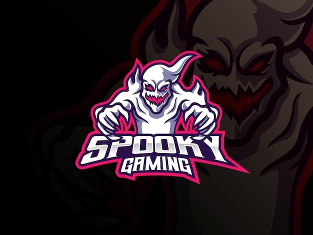Design de logotipo de esporte de mascote fantasma
