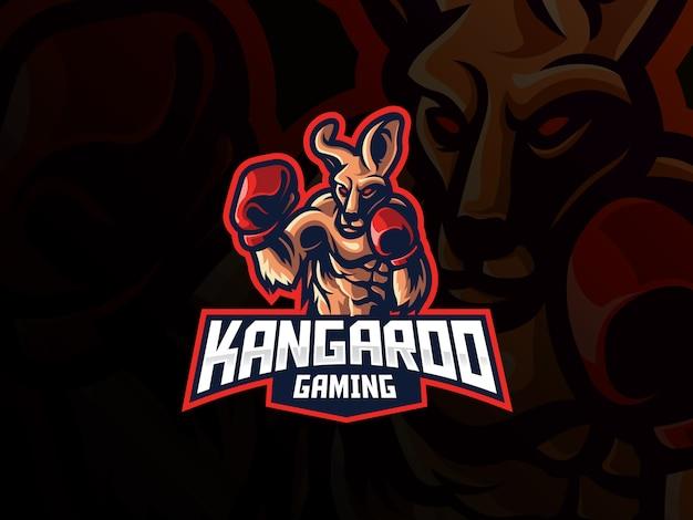 Design de logotipo de esporte mascote canguru