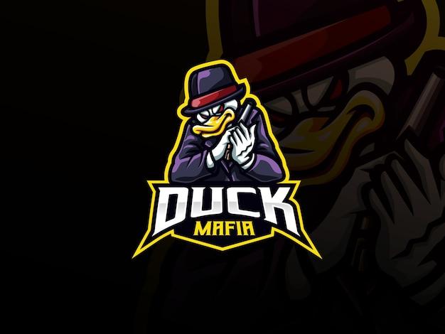 Design de logotipo de esporte mascote pato