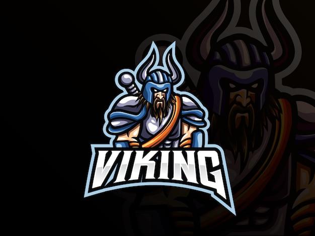 Design de logotipo de esporte mascote viking