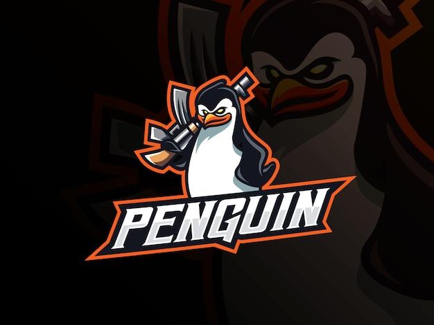 Design de logotipo de esporte pinguim máfia mascote