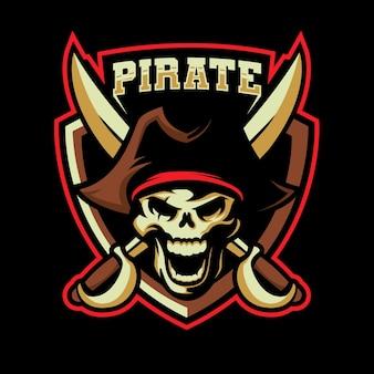 Design de logotipo de esports pirata morto-vivo. ilustração de mascote pirata morto-vivo Vetor Premium