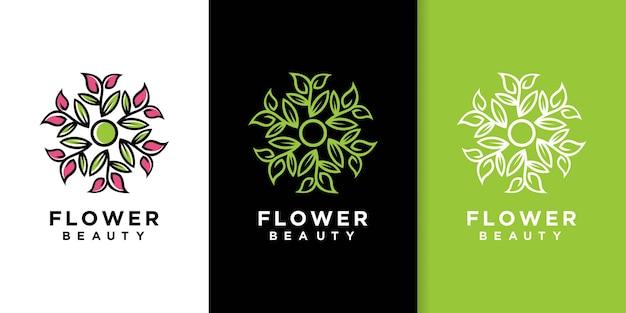 Design de logotipo de estilo de arte de linha de folha de flor