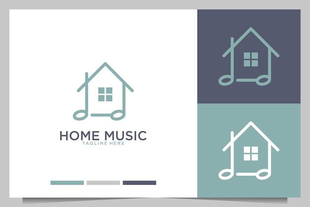Design de logotipo de estilo de arte de linha de música doméstica