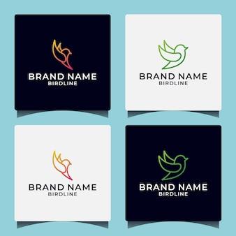 Design de logotipo de estilo de arte de linha de pássaro de mosca criativo com gradiente de cor para o seu negócio
