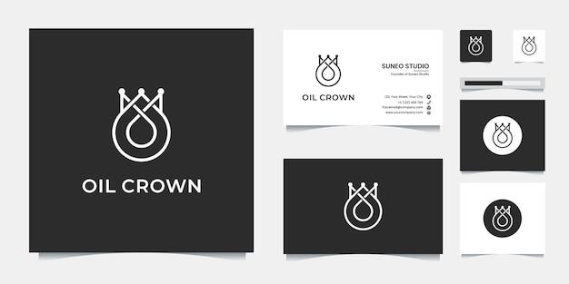 Design de logotipo de estilo de linha de coroa de óleo premium e cartão de visita