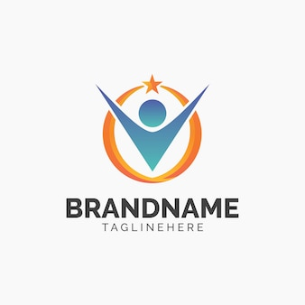 Design de logotipo de estrela humana