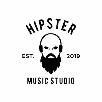 Design de logotipo de estúdio de música hipster
