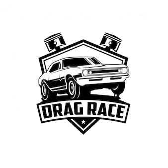 Design de logotipo de etiqueta vintage para corrida de arrancada automotiva
