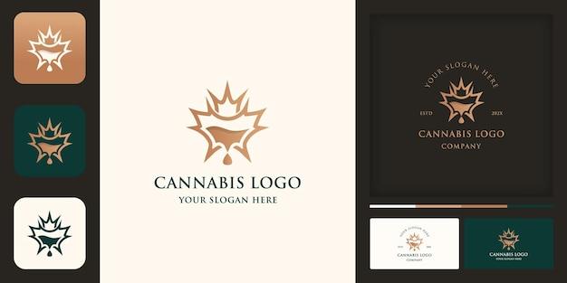 Design de logotipo de extrato de óleo de cannabis e design de cartão de visita