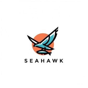 Design de logotipo de falcão do mar