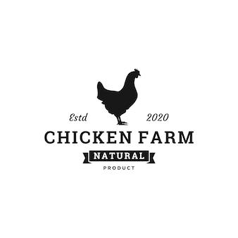 Design de logotipo de fazenda de galinhas